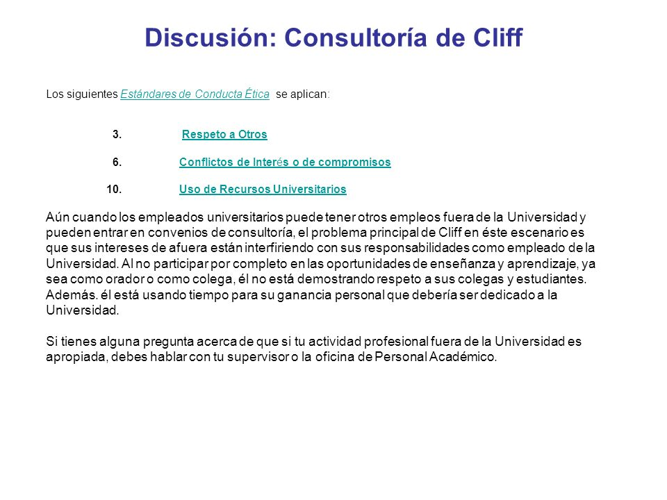 Discusión: Consultoría de Cliff
