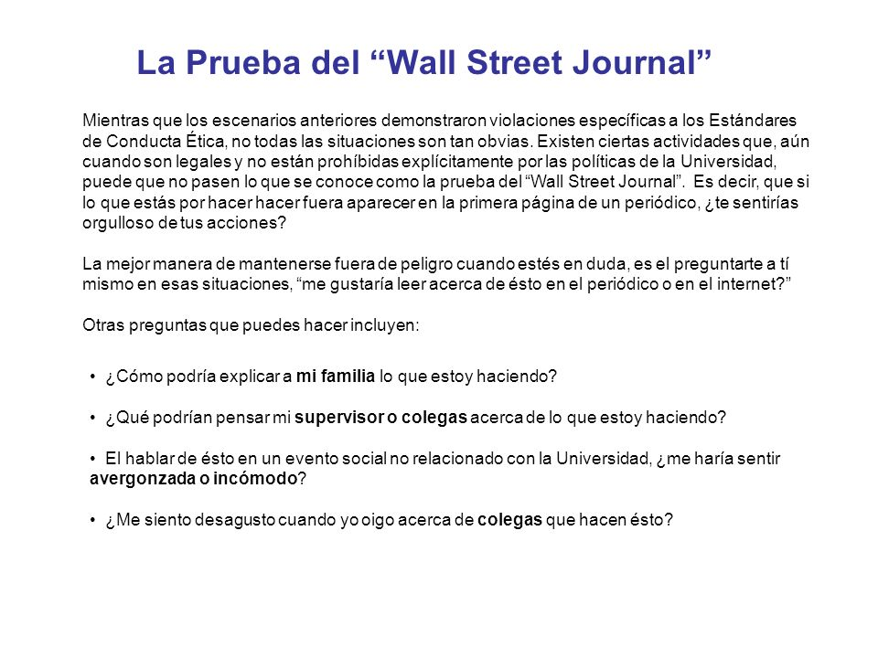 La Prueba del Wall Street Journal