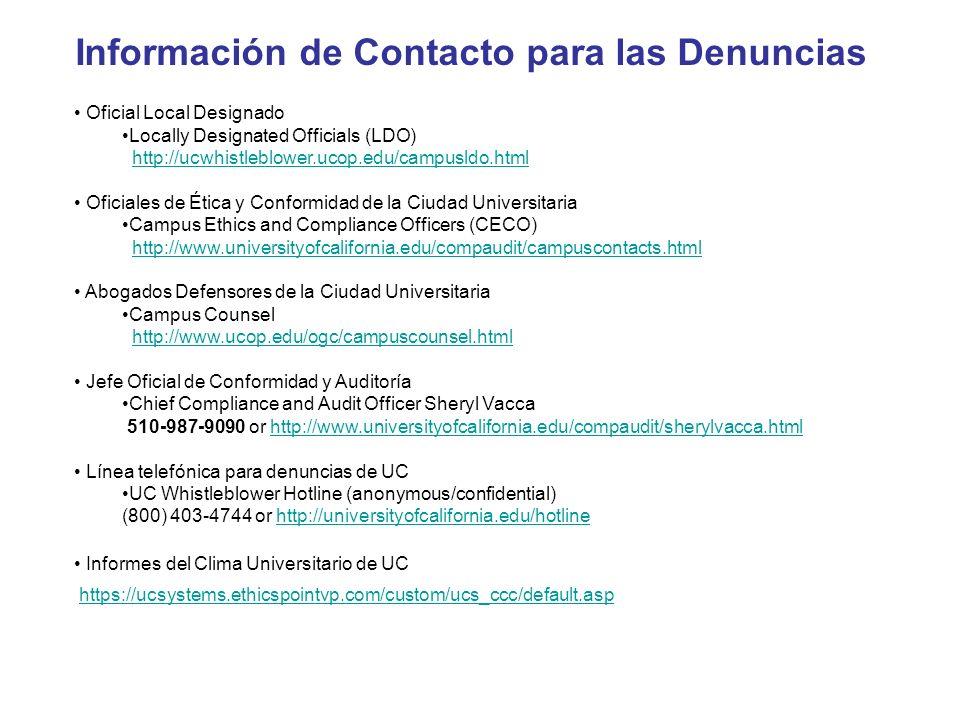 Información de Contacto para las Denuncias