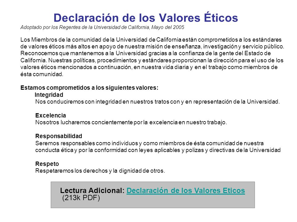 Declaración de los Valores Éticos