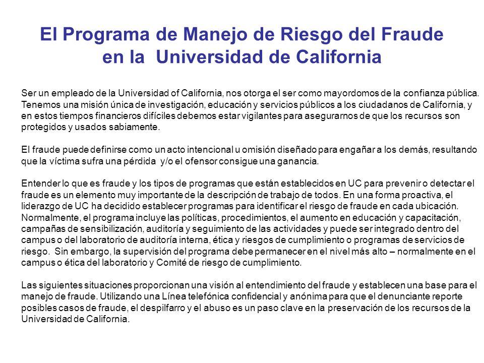 El Programa de Manejo de Riesgo del Fraude en la Universidad de California