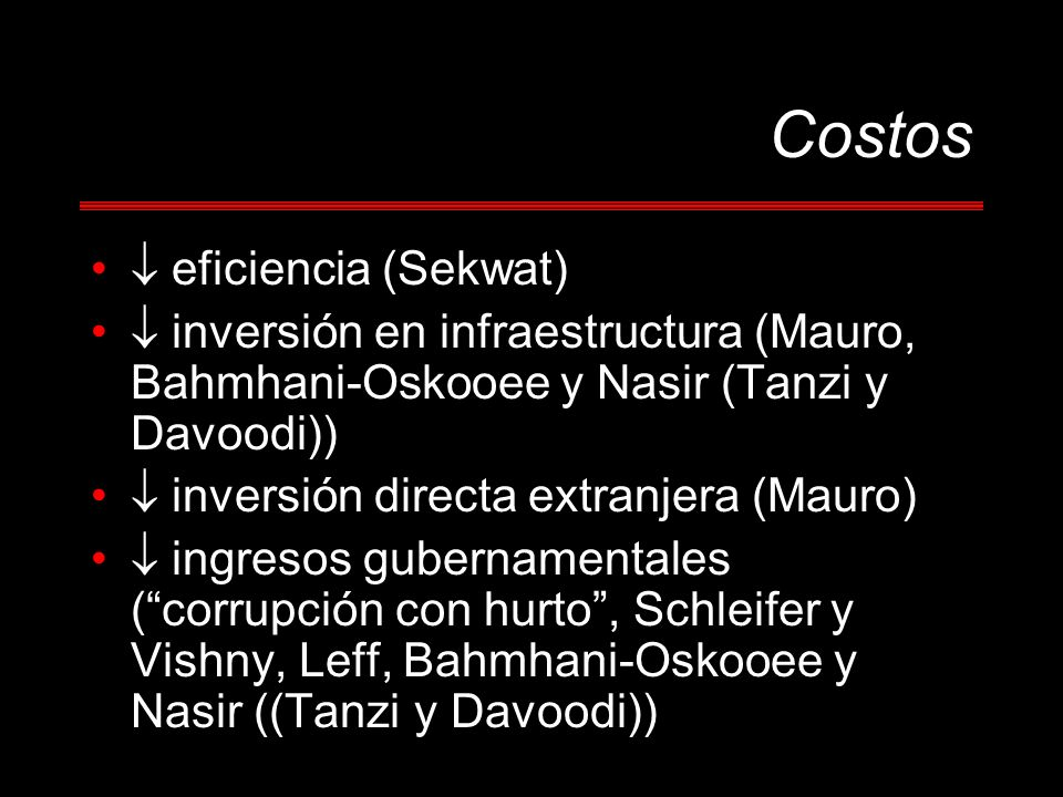 Costos  eficiencia (Sekwat)