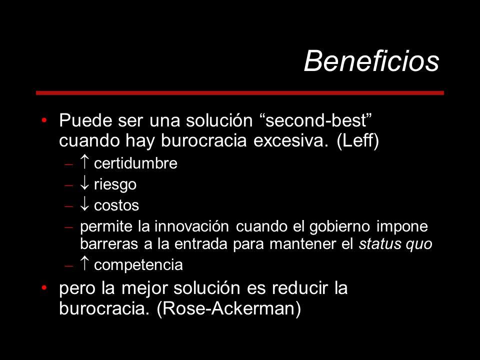 Beneficios Puede ser una solución second-best cuando hay burocracia excesiva. (Leff)  certidumbre.