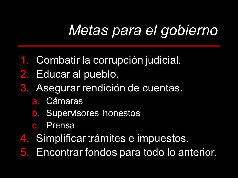 Metas para el gobierno Combatir la corrupción judicial.