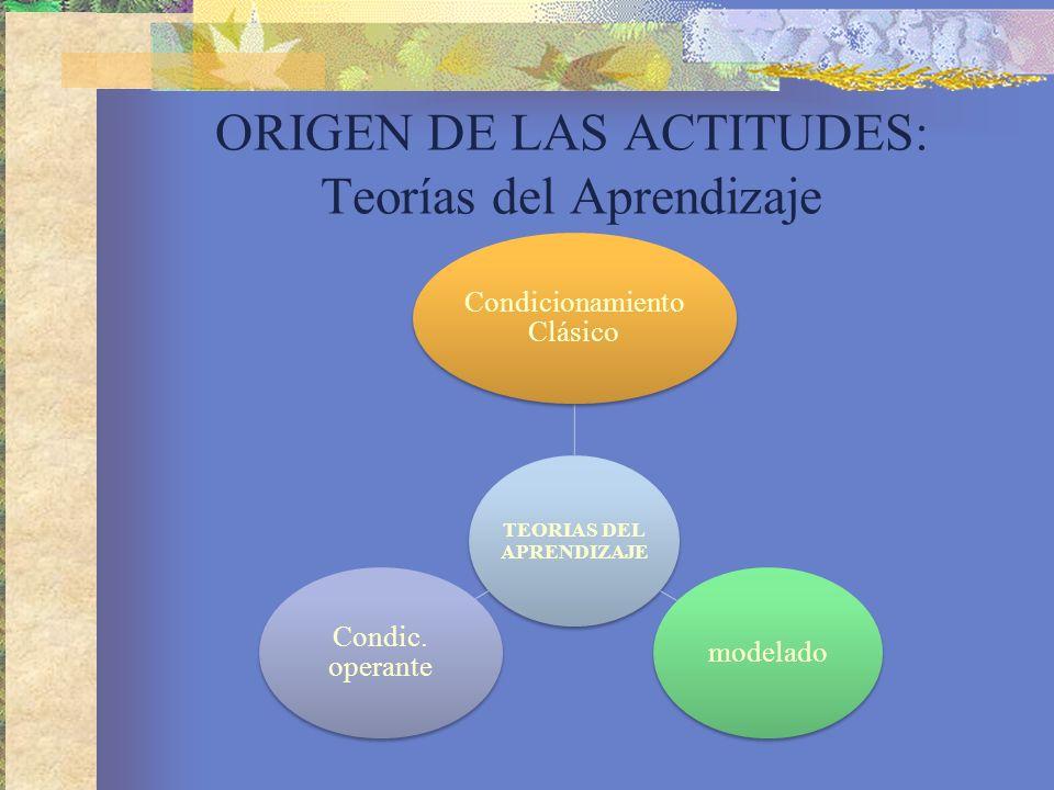 ORIGEN DE LAS ACTITUDES: Teorías del Aprendizaje