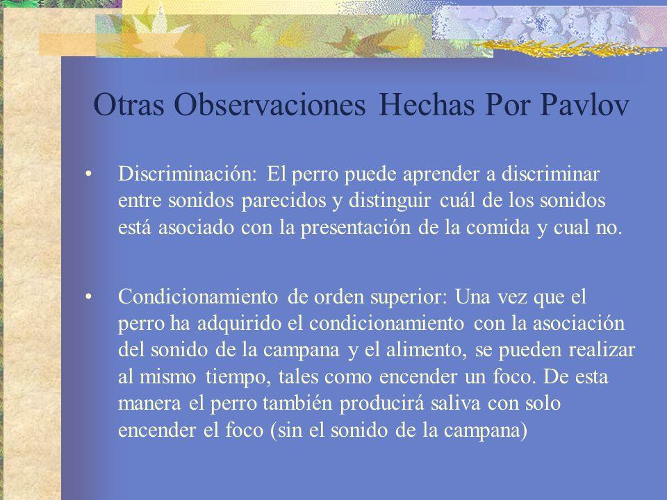 Otras Observaciones Hechas Por Pavlov