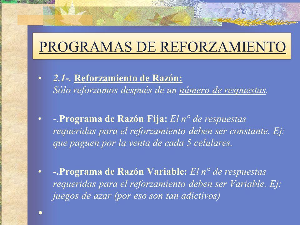 PROGRAMAS DE REFORZAMIENTO