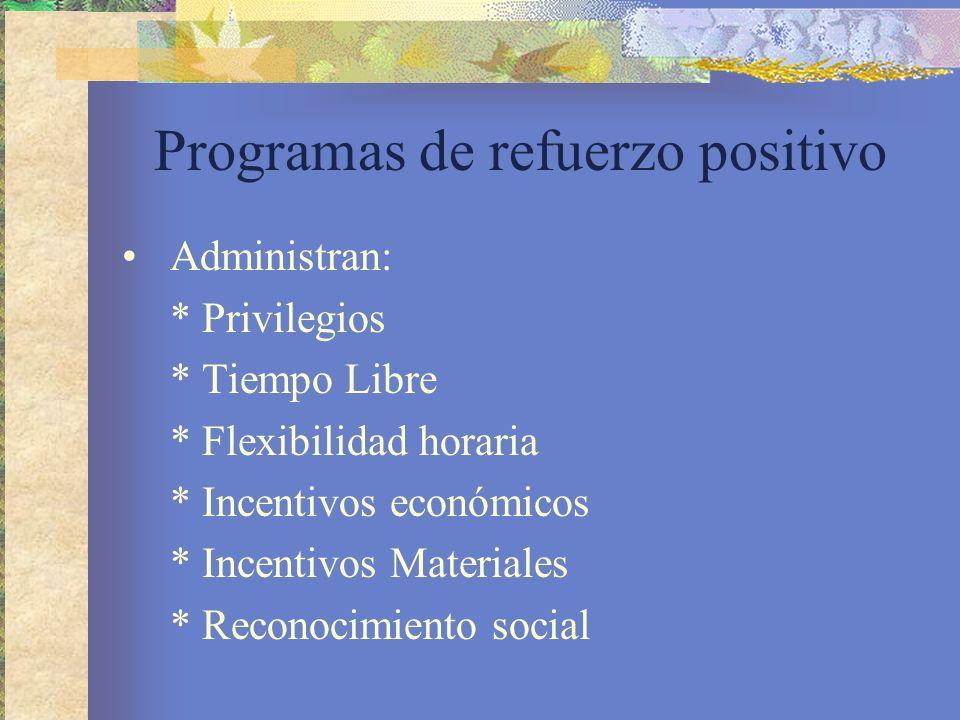 Programas de refuerzo positivo