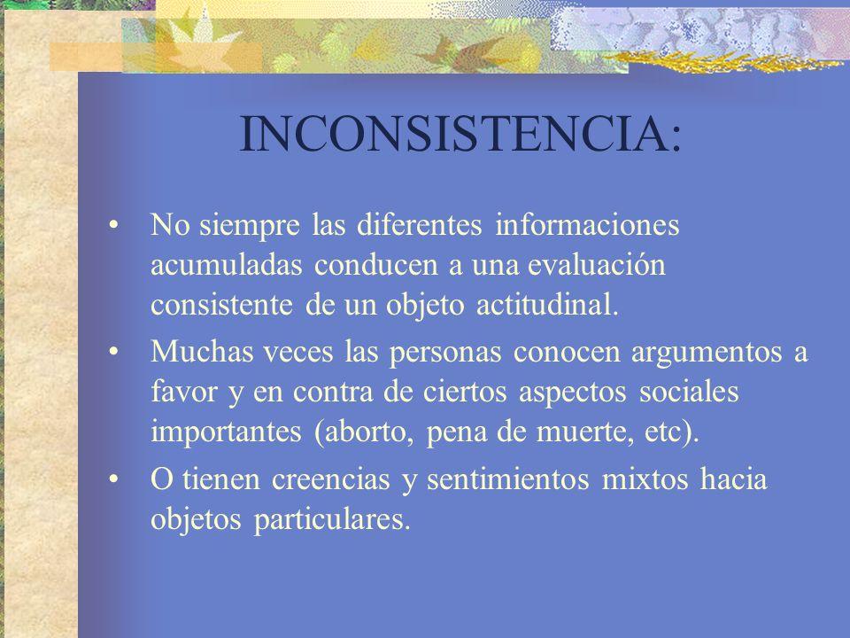 INCONSISTENCIA: No siempre las diferentes informaciones acumuladas conducen a una evaluación consistente de un objeto actitudinal.