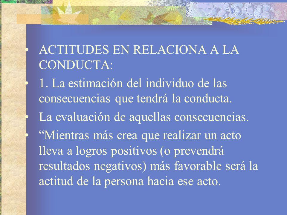 ACTITUDES EN RELACIONA A LA CONDUCTA: