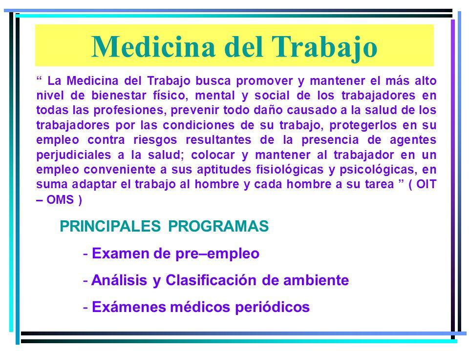 Medicina del Trabajo PRINCIPALES PROGRAMAS Examen de pre–empleo