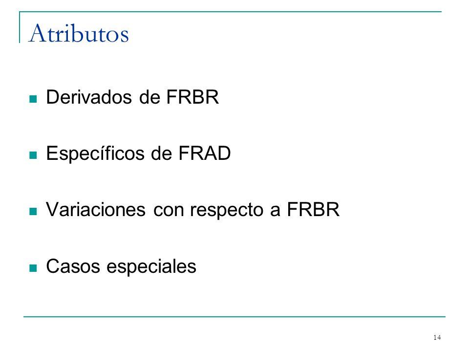 Atributos Derivados de FRBR Específicos de FRAD