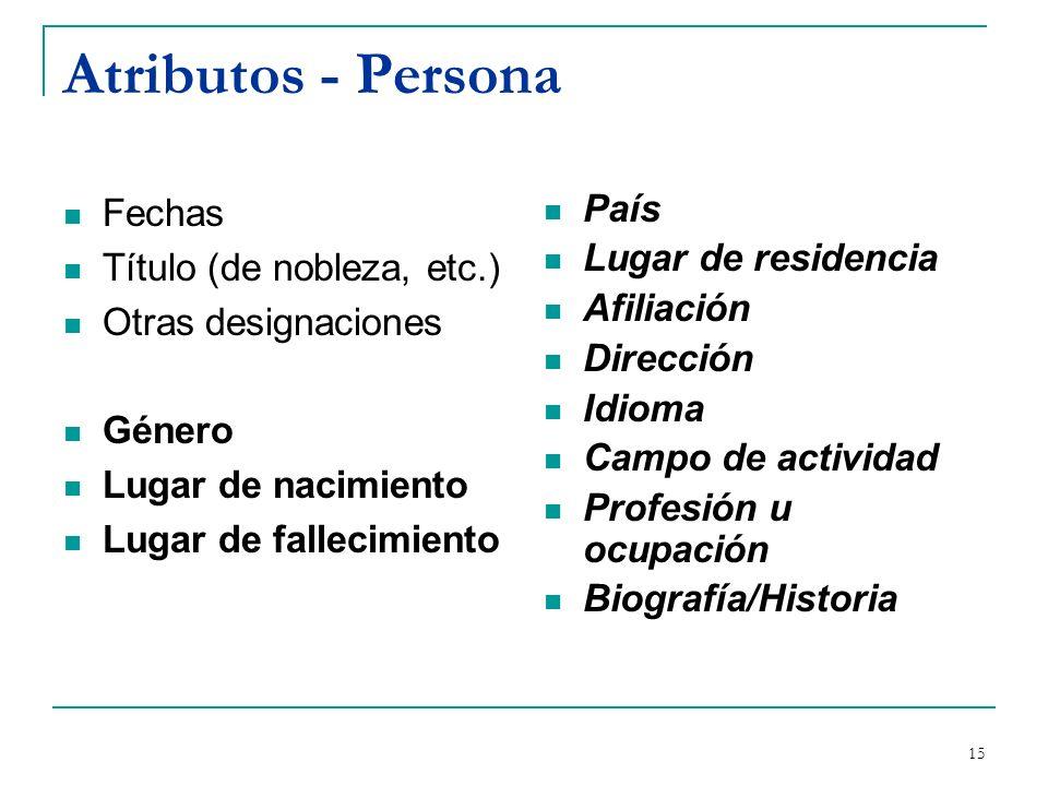 Atributos - Persona Fechas Título (de nobleza, etc.)