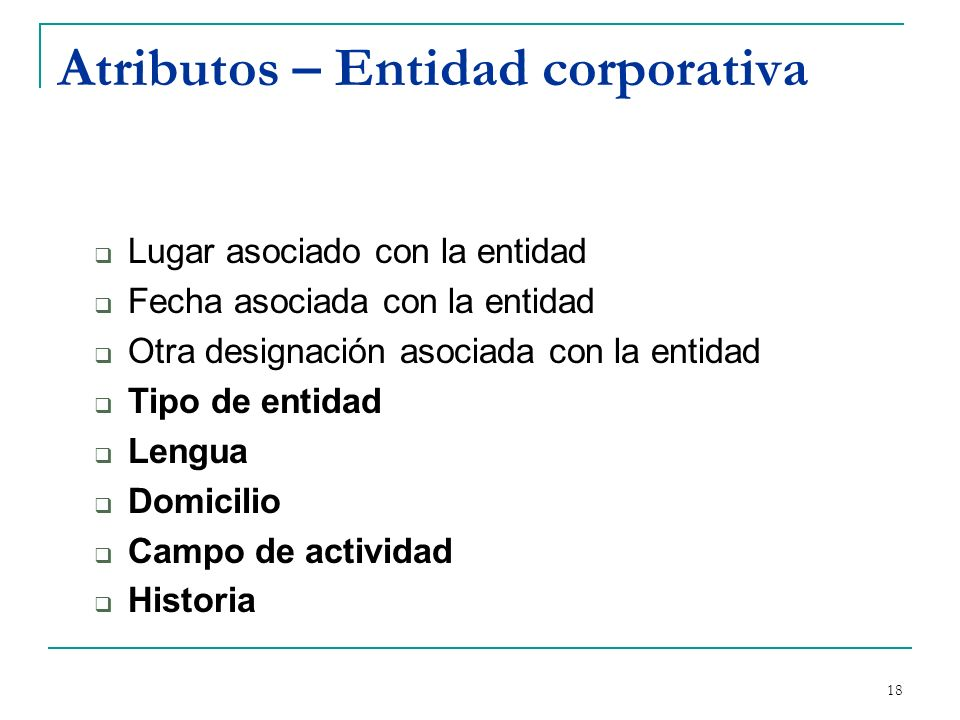 Atributos – Entidad corporativa
