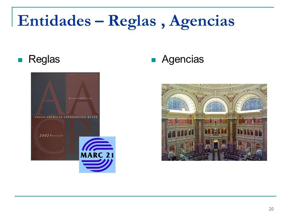 Entidades – Reglas , Agencias