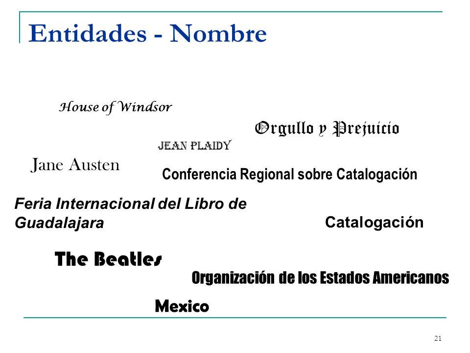 Entidades - Nombre The Beatles Orgullo y Prejuicio Jane Austen Mexico