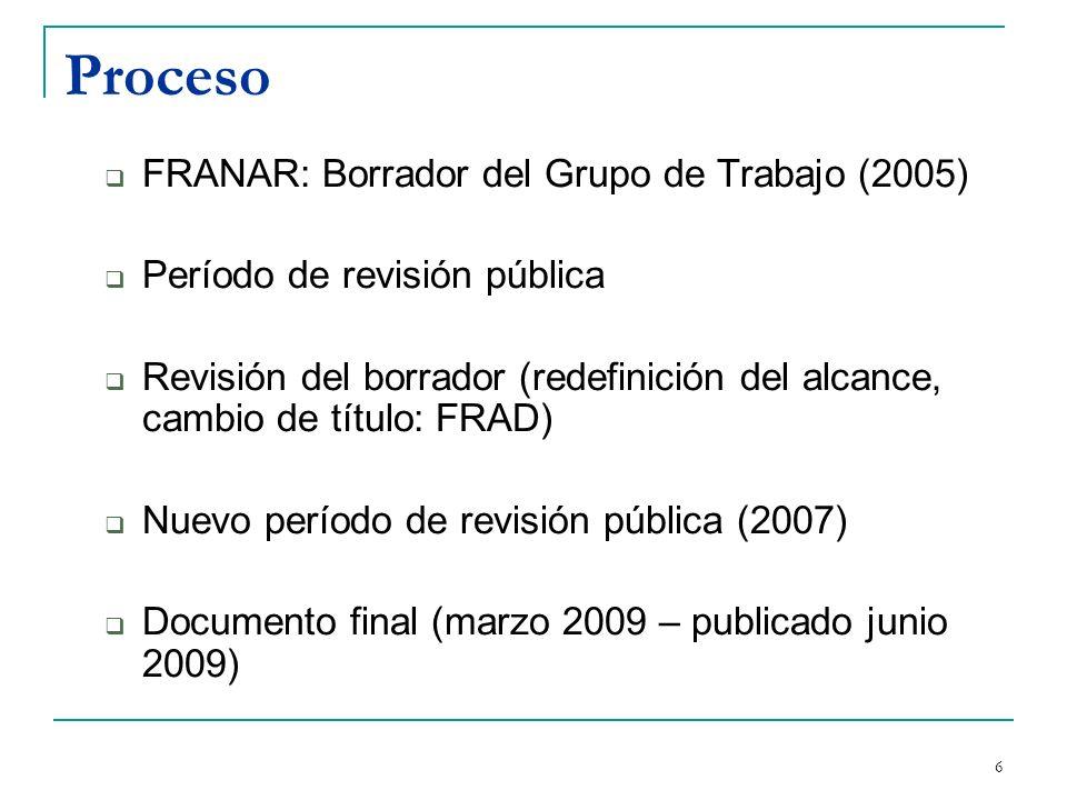 Proceso FRANAR: Borrador del Grupo de Trabajo (2005)