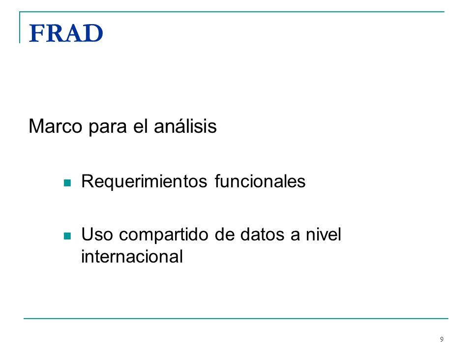 FRAD Marco para el análisis Requerimientos funcionales