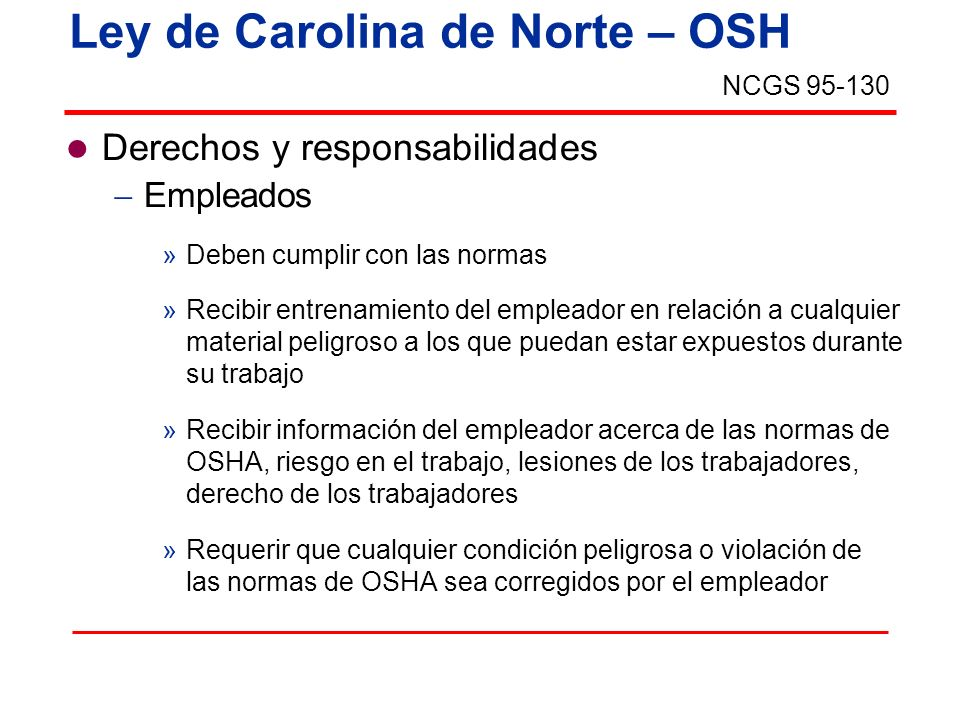 Ley de Carolina de Norte – OSH