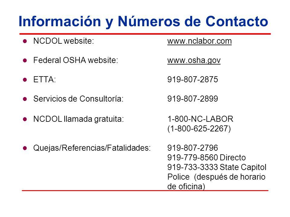 Información y Números de Contacto