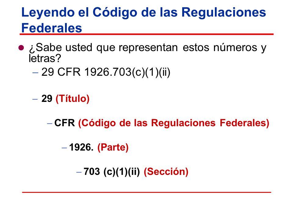 Leyendo el Código de las Regulaciones Federales