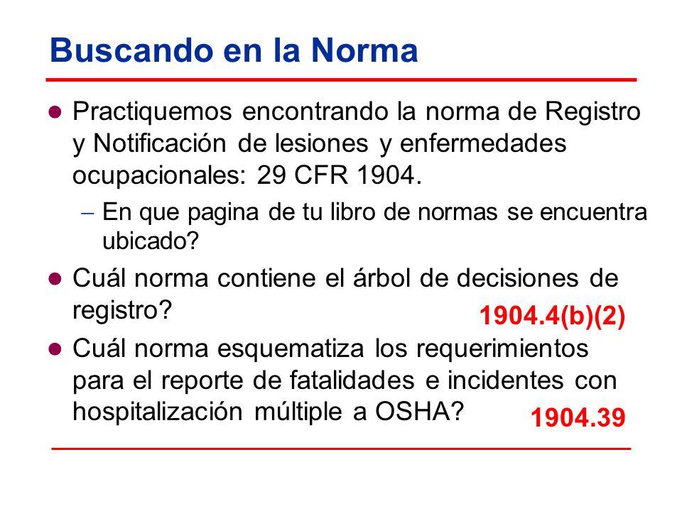 Buscando en la Norma Practiquemos encontrando la norma de Registro y Notificación de lesiones y enfermedades ocupacionales: 29 CFR 1904.