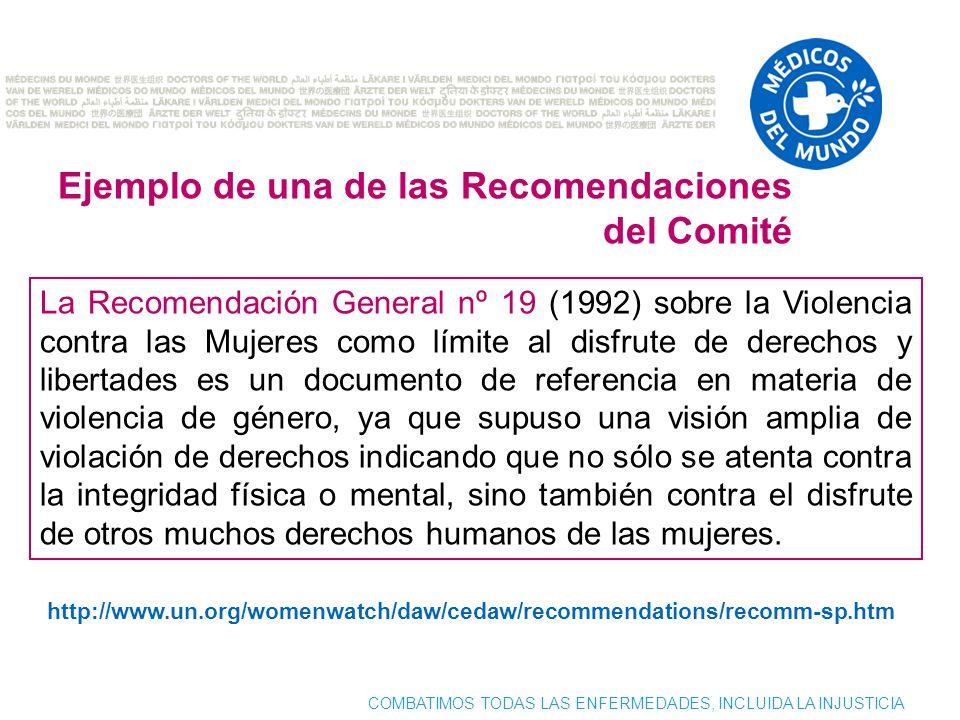 Ejemplo de una de las Recomendaciones del Comité