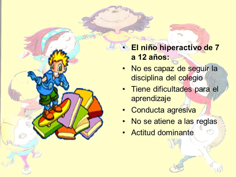 El niño hiperactivo de 7 a 12 años: