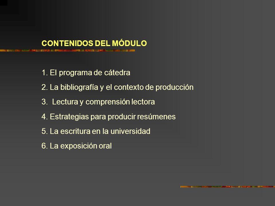 CONTENIDOS DEL MÓDULO 1. El programa de cátedra 2