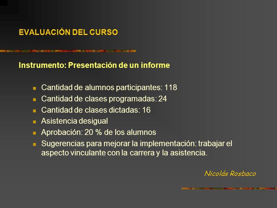 Instrumento: Presentación de un informe