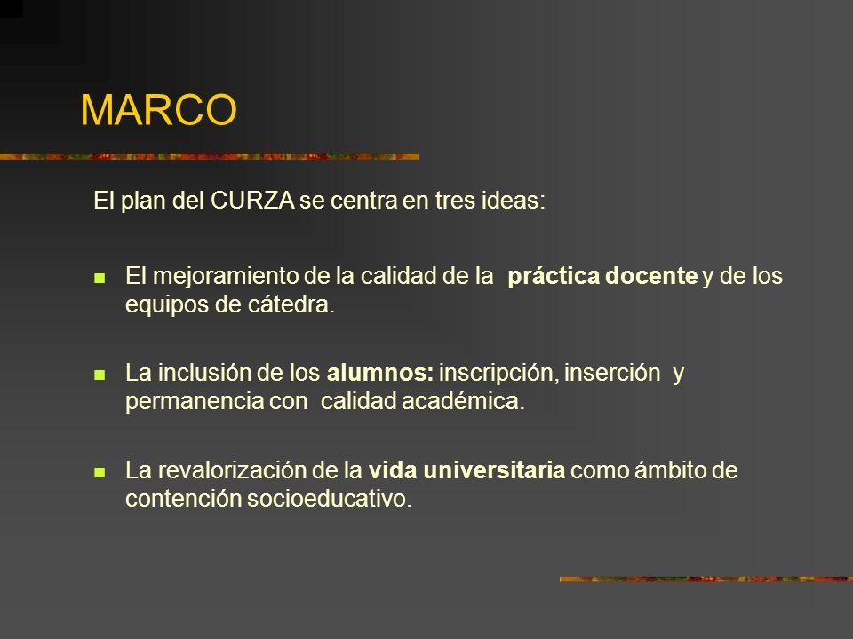 MARCO El plan del CURZA se centra en tres ideas: