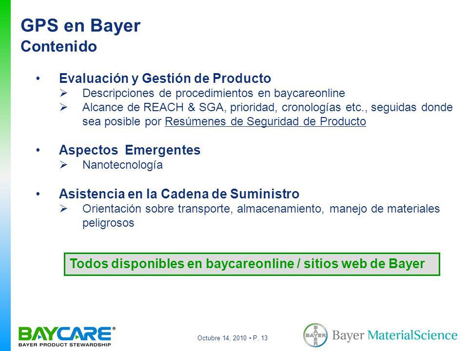 GPS en Bayer Contenido Evaluación y Gestión de Producto