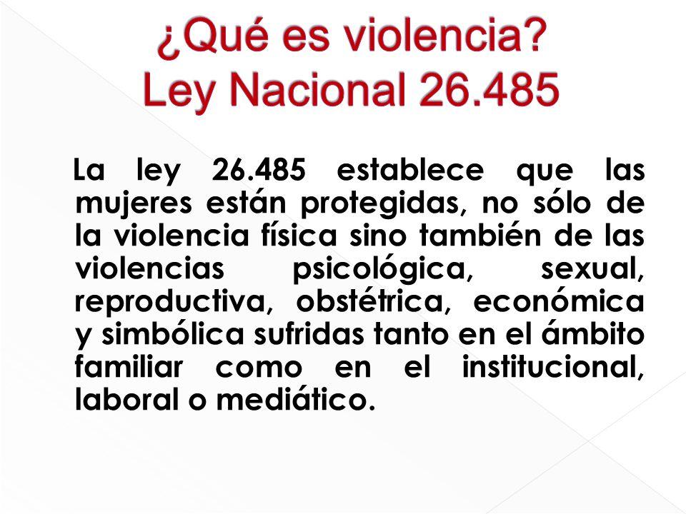 ¿Qué es violencia Ley Nacional 26.485