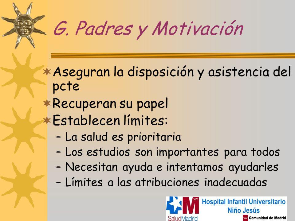 G. Padres y Motivación Aseguran la disposición y asistencia del pcte