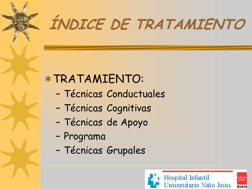 ÍNDICE DE TRATAMIENTO TRATAMIENTO: Técnicas Conductuales