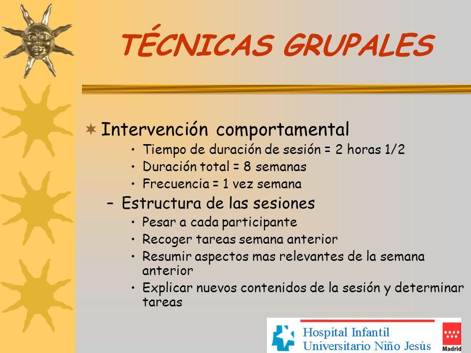 TÉCNICAS GRUPALES Intervención comportamental