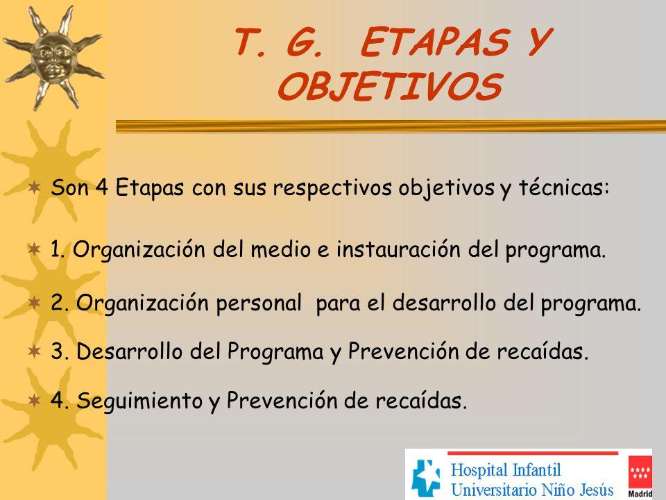 T. G. ETAPAS Y OBJETIVOS Son 4 Etapas con sus respectivos objetivos y técnicas: 1. Organización del medio e instauración del programa.