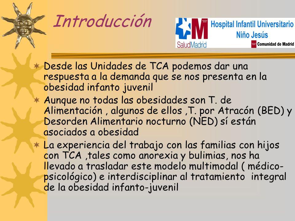 Introducción Desde las Unidades de TCA podemos dar una respuesta a la demanda que se nos presenta en la obesidad infanto juvenil.
