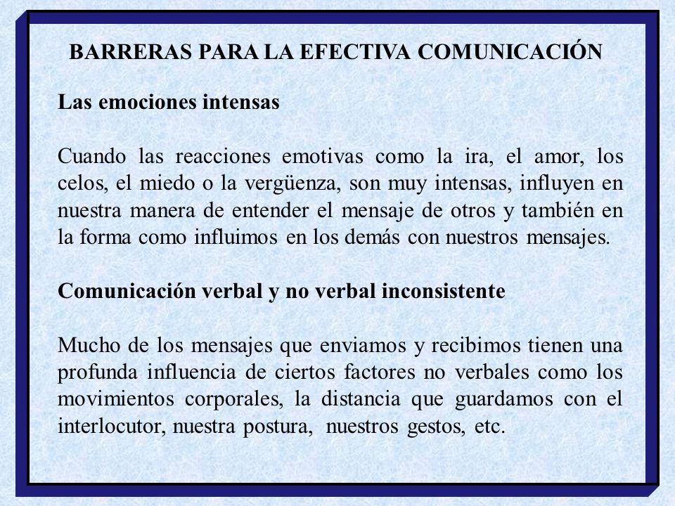 BARRERAS PARA LA EFECTIVA COMUNICACIÓN
