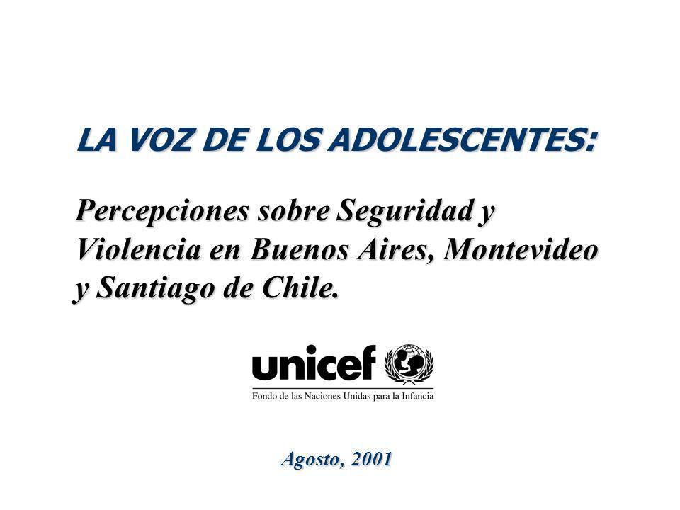 LA VOZ DE LOS ADOLESCENTES: Percepciones sobre Seguridad y Violencia en Buenos Aires, Montevideo y Santiago de Chile.