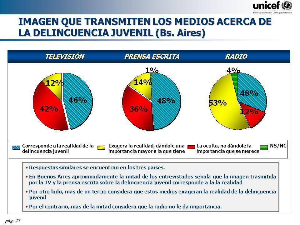 IMAGEN QUE TRANSMITEN LOS MEDIOS ACERCA DE LA DELINCUENCIA JUVENIL (Bs