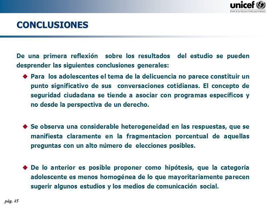 CONCLUSIONES De una primera reflexión sobre los resultados del estudio se pueden desprender las siguientes conclusiones generales: