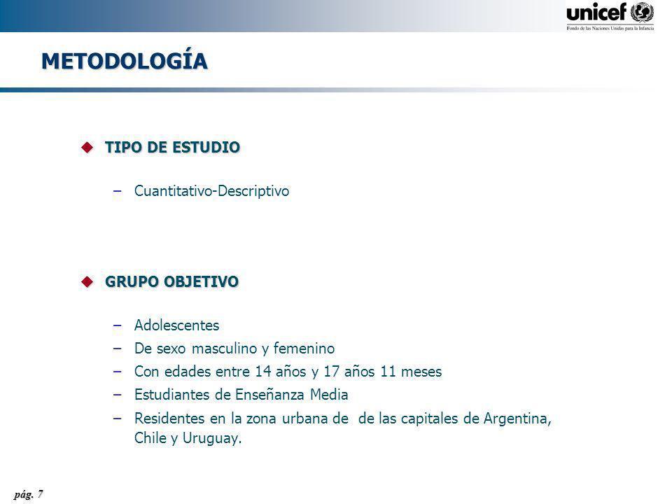 METODOLOGÍA TIPO DE ESTUDIO Cuantitativo-Descriptivo GRUPO OBJETIVO