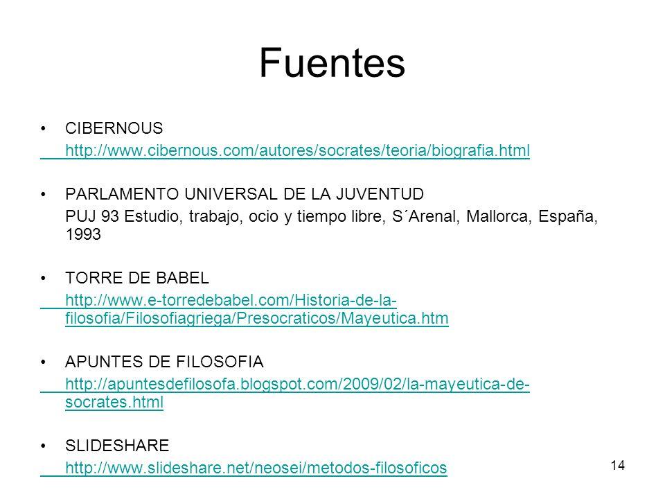 Fuentes CIBERNOUS. http://www.cibernous.com/autores/socrates/teoria/biografia.html. PARLAMENTO UNIVERSAL DE LA JUVENTUD.