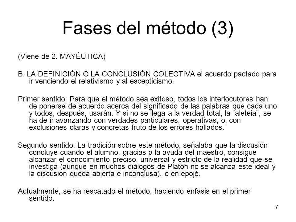 Fases del método (3) (Viene de 2. MAYÉUTICA)