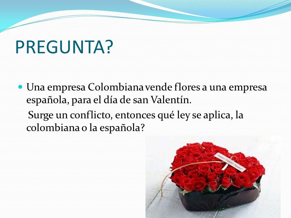 PREGUNTA Una empresa Colombiana vende flores a una empresa española, para el día de san Valentín.