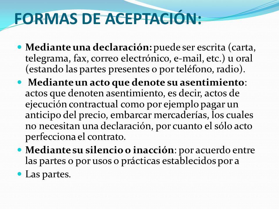 FORMAS DE ACEPTACIÓN: