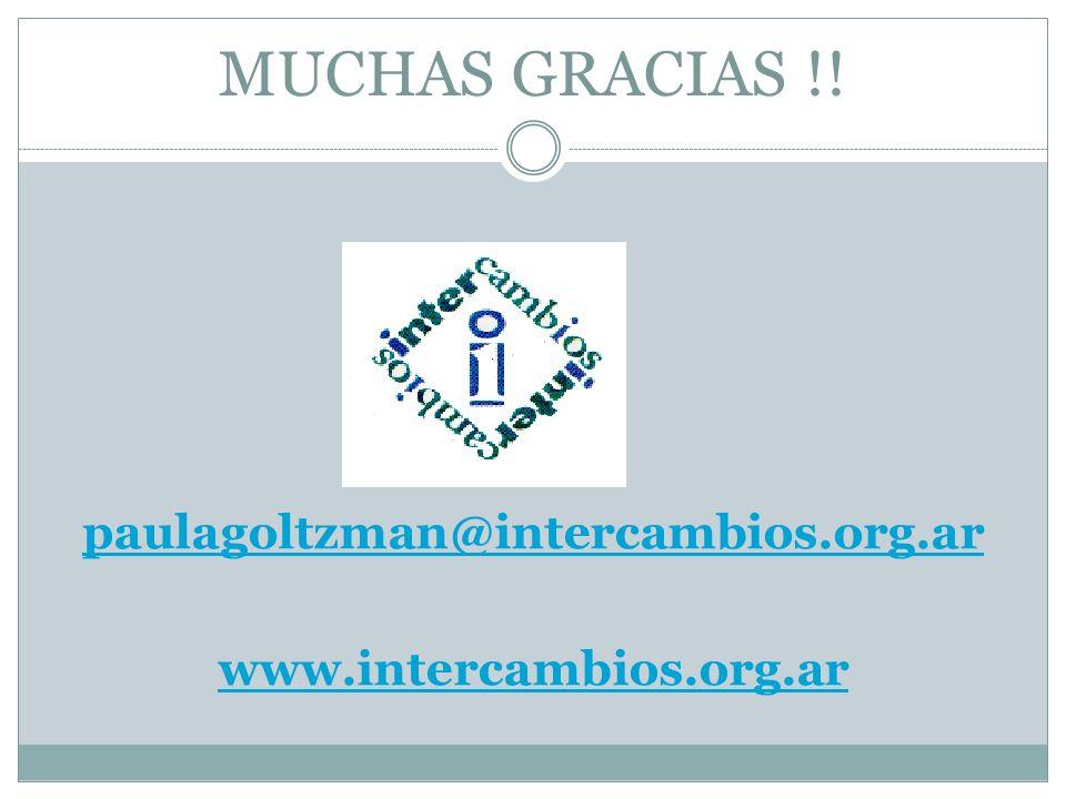 paulagoltzman@intercambios.org.ar www.intercambios.org.ar
