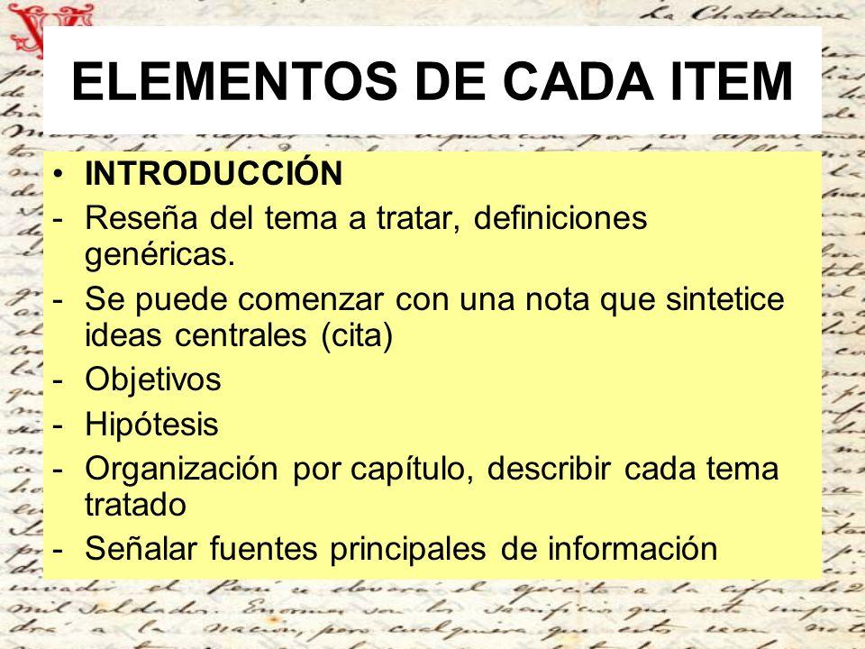 ELEMENTOS DE CADA ITEM INTRODUCCIÓN
