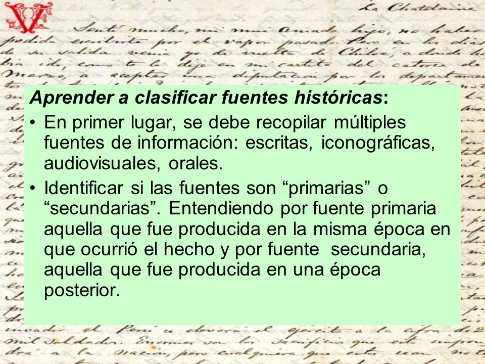 Aprender a clasificar fuentes históricas:
